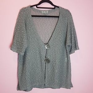 JM Collection Open-Weave Soft Knit Cardigan Grey